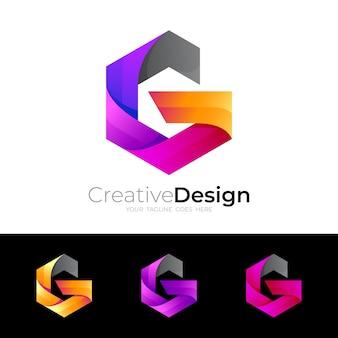 セットgロゴと六角形のデザイン、3dカラフル