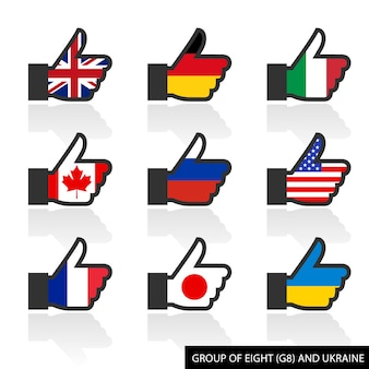 Set of g8 flags with shadow, like