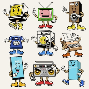 Set of gadget and electronic character mascot