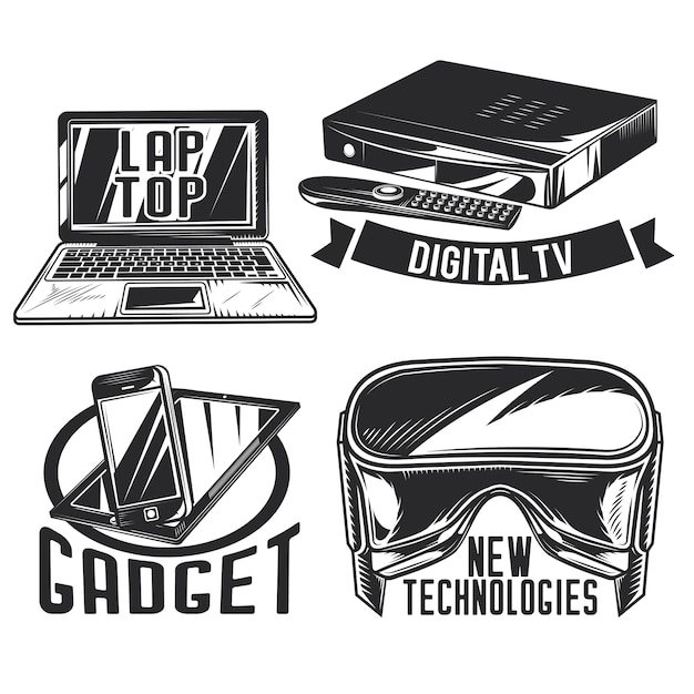 Set of gadgets emblems, labels, badges, logos.