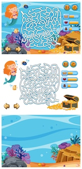 Set of game backgrounds with mermaid and fish underwater