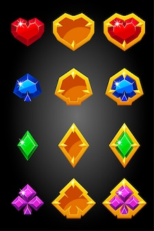 Set of game card suits icons constructor. poker symbols, golden gambling badges.