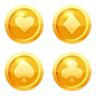 クラブ、ハート、ダイヤモンド、スペードのゴールドアイコン、ゲームインターフェイス、ゴールドメタルのゲームコインカードスーツを設定します。