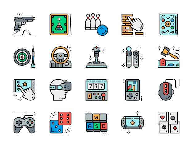 Set of game flat color icons.