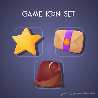 Set of game icon in cartoon style. menu elements: star, letter and pouch. bright design for app user interface