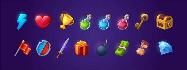 Set of game icons shield sword lightning flash and heart golden cup magic potion flasks gold key and...