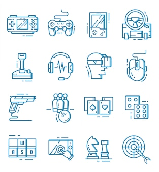 Set of game icons with outline style