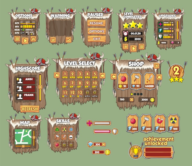 Set of game interface for viking game