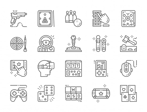 Set of game line icons