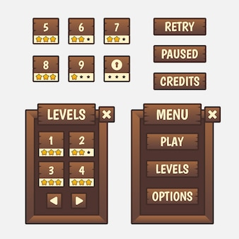 Set of game menu selection for rpg and adventure game, including menu, level selection and options.