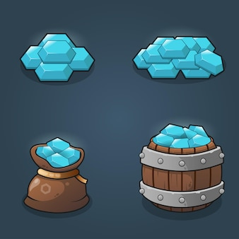 Set of game resource crytals reward stacks illustration
