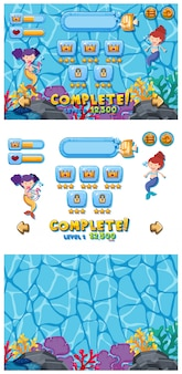 Set of game template with mermaids underwater