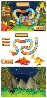 Set of game  templates with dinosaurs at night