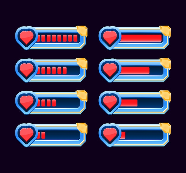 Set of game ui animate from low to full indicator heart health and life bar for gui asset elements