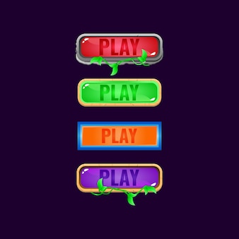 Set of game ui colorful jelly button with various border for gui asset elements