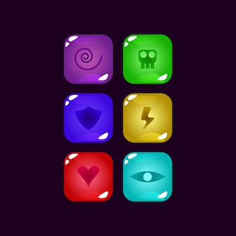 Set of game ui colorful jelly gui asset elements