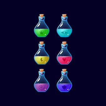 Set of game ui colorful potion bottle magic power up for gui asset elements