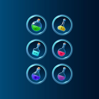 Set of game ui colorful potion bottle magic power up with glossy frame for gui asset elements