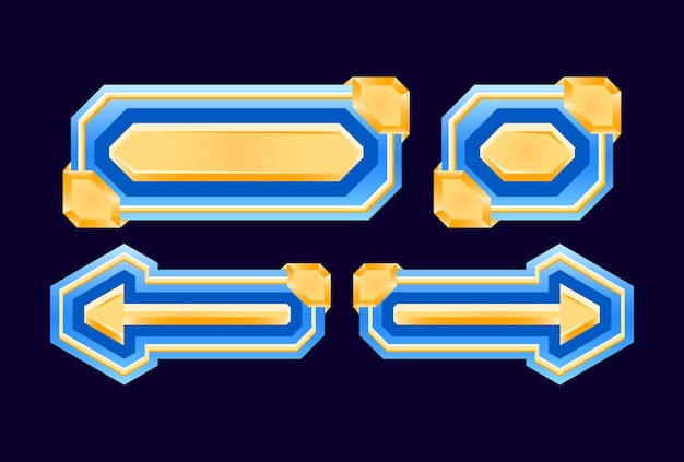 Set of game ui diamond and golden button for gui asset elements