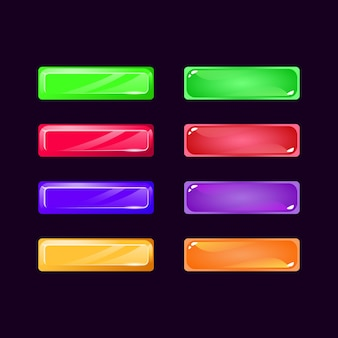 Set of game ui diamond and jelly colorful button for gui asset elements
