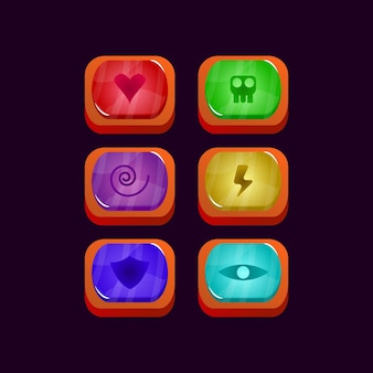Set of game ui glossy colorful jelly gui asset elements