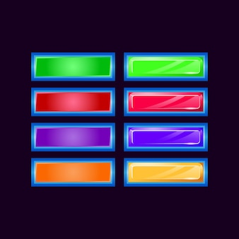 Set of game ui glossy diamond and jelly colorful button for gui asset elements