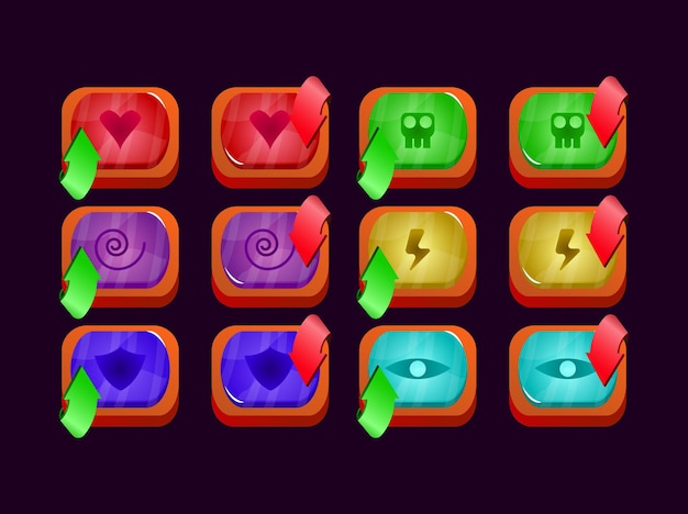 Set of game ui glossy jelly gui asset elements