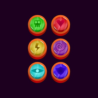 Set of game ui glossy rounded jelly gui asset elements