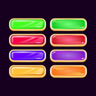 Set of game ui golden diamond and jelly colorful button for gui asset elements