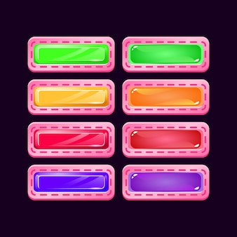 Set of game ui pink diamond and jelly colorful button for gui asset elements