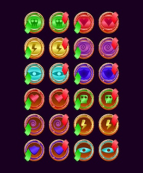 Set of game ui rounded wooden jelly magic power up