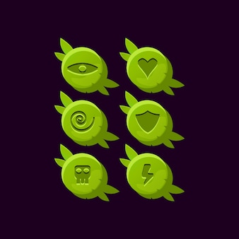Set of game ui rounded wooden nature leaves gui asset elements
