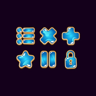 Set of game ui wooden jelly icon signs for gui asset elements