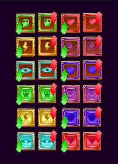 Set of game ui wooden jelly magic power up