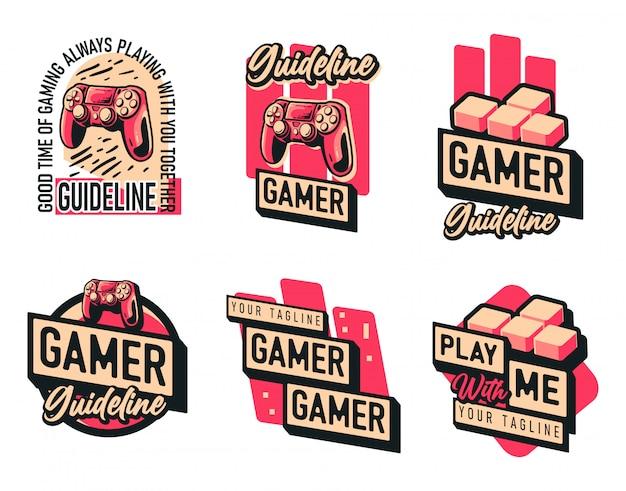 Set gaming mascots logo joystick character