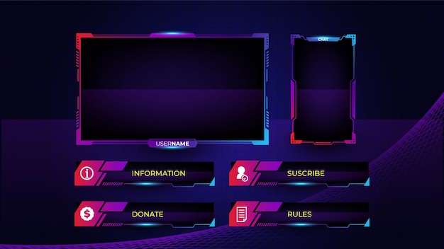 Set of gaming panels with abstract shapes template