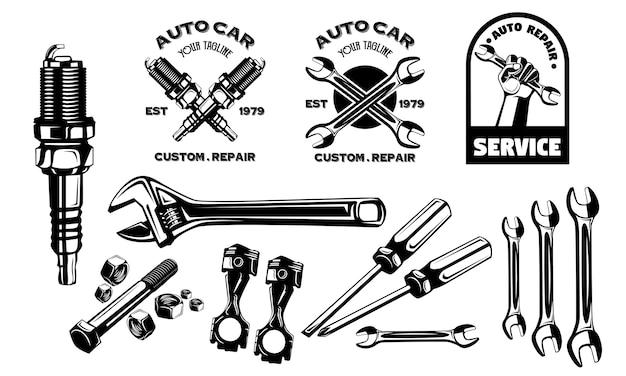 Set garage repair auto car