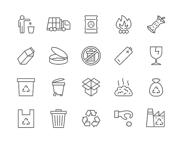 Set of garbage line icons