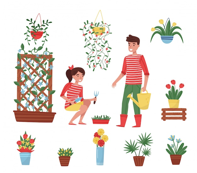 Set of garden elements. different plants in ceramic pots, flowers in vases, cute boy and girl with garden tools