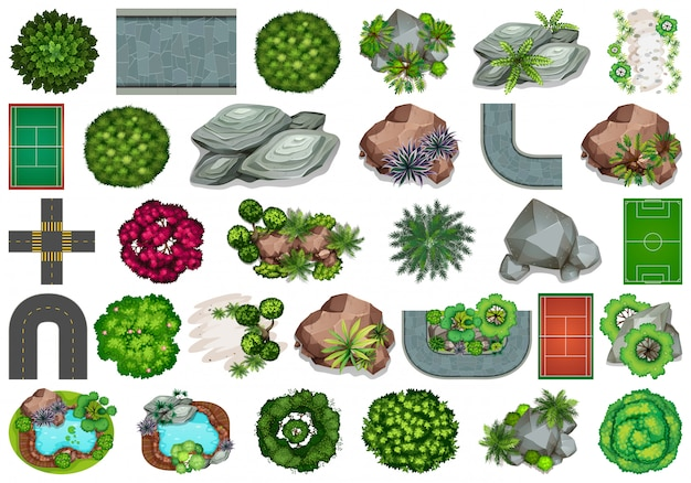 Set of garden elements