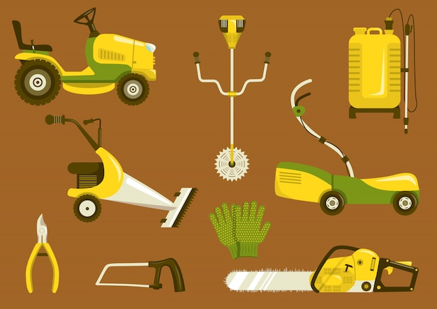 Set of garden equipment for grass mowing
