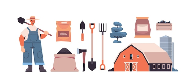 Set garden and farm tools gardening equipment and farmer with shovel organic eco farming agriculture concept horizontal vector illustration