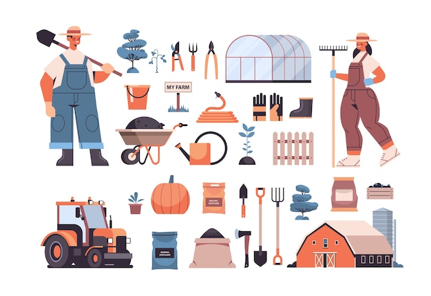 Set garden and farm tools gardening equipment and farmers in uniform organic eco farming agriculture concept horizontal vector illustration