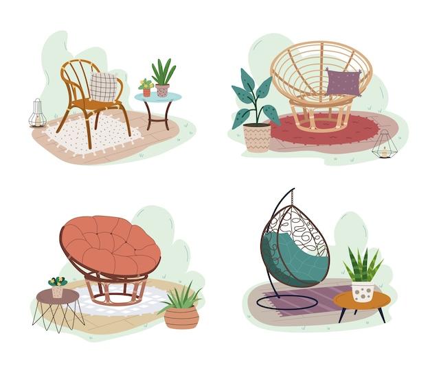 Set of garden rattan furniture, garden exterior