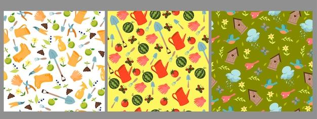 Set of garden seamless patterns.
