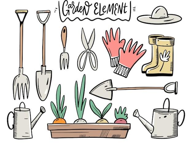Установите садовый инвентарь и элементы. иллюстрация в мультяшном стиле. изолированные на белом фоне.
