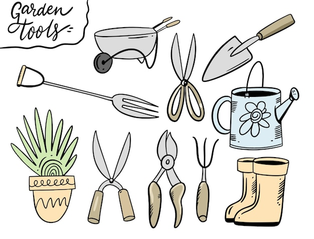 Set garden tools.  illustration in cartoon style. isolated on white background.