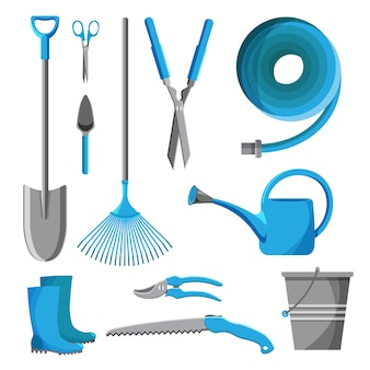 Set of garden tools isolated on white background. gardening equipment. farming icon collection illustration.