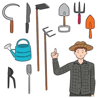 Set of gardener and gardening equipment