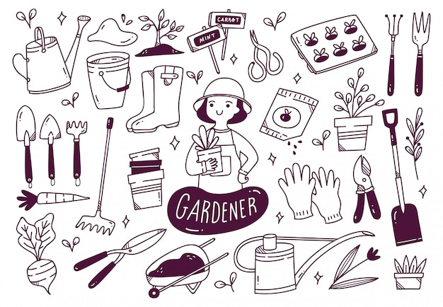 Set of gardener tools in doodle style